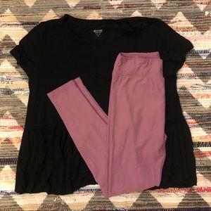 LuLaRoe Pants - SOLD LuLaRoe Lilac Leggings & Black Mossimo Top
